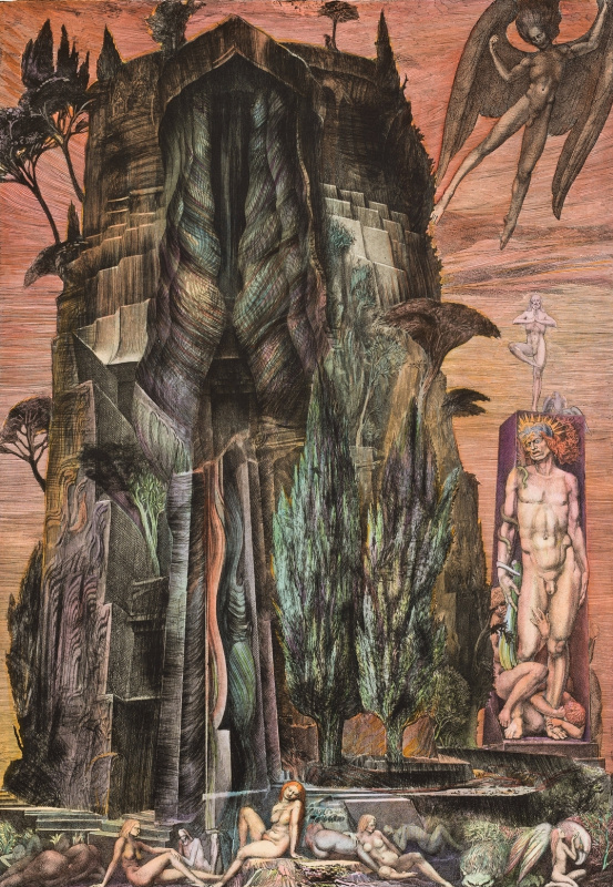 Ernst Fuchs. The temptation of St. Simeon the Stylite