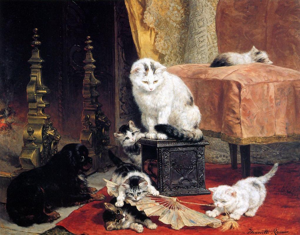 Генриетта Роннер-Книп. Котята играют с вентилятором