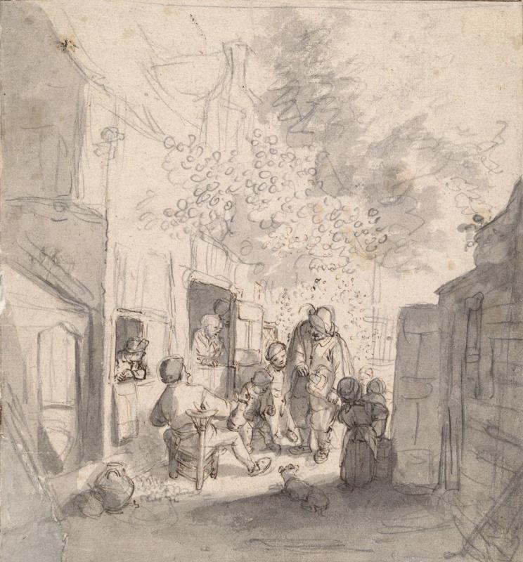 Корнелис Дюсарт. Дети, играющие перед крестьянским домом
