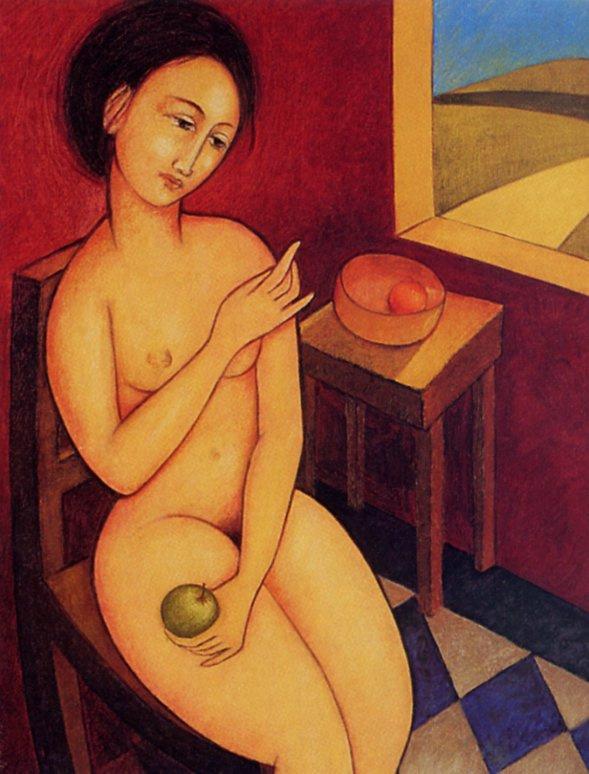Молодая девушка с зеленым яблоком