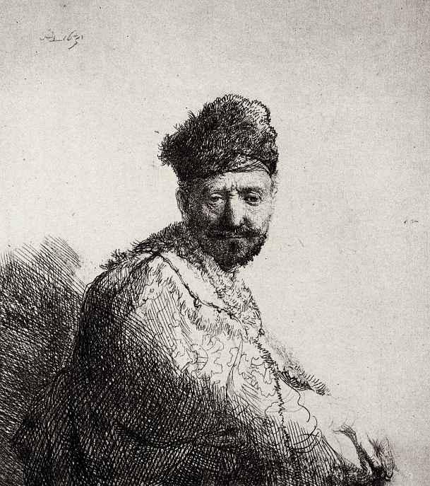 Рембрандт Ван Рейн. Мужчина с короткой бородой в вышитой накидке и меховой шапке