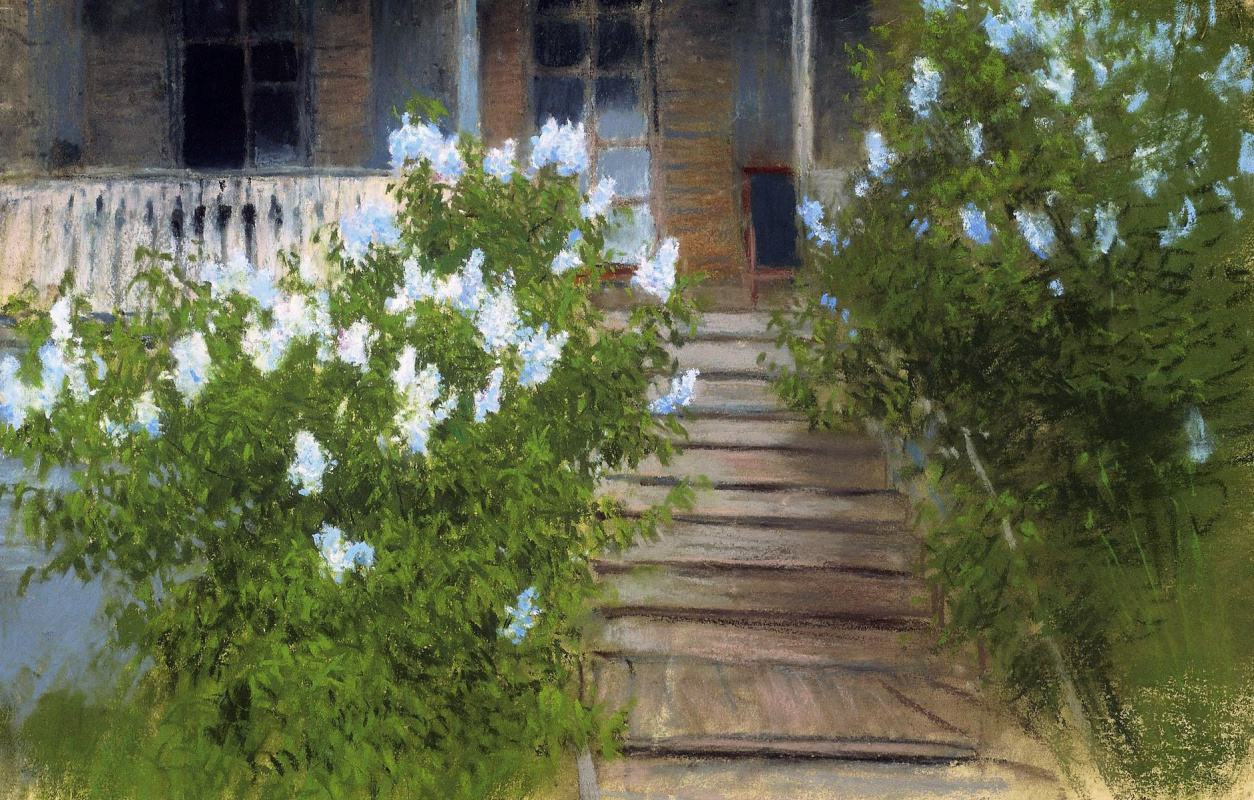 Isaac Levitan. Porch in Melikhovo. Lilac