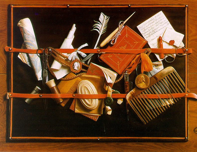 Samuel van Hogstraaten. Feather, comb and scissors. Still life with an optical illusion