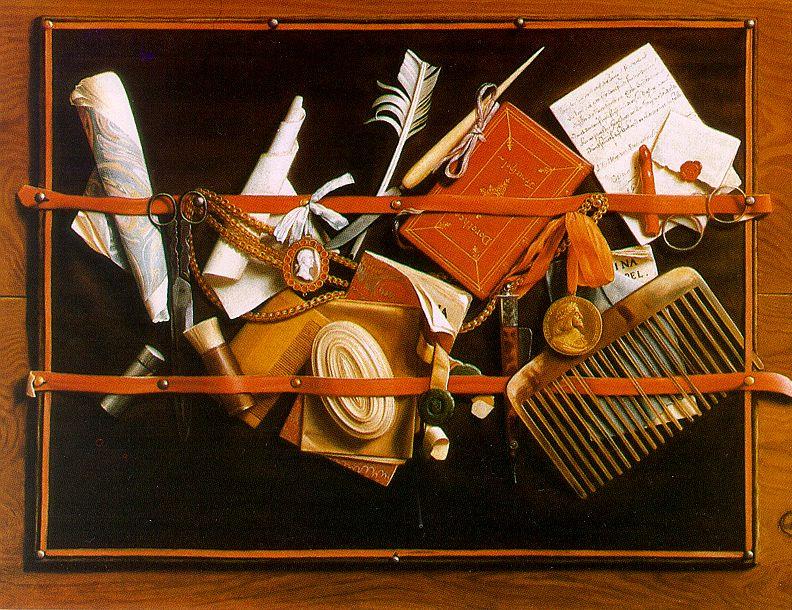 Самюэл ван Хогстратен. Перо, гребень и ножницы. Натюрморт с оптической иллюзией