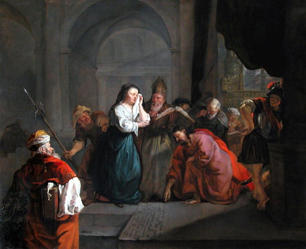 Габриель Метсю. Христос и женщина, уличенная в прелюбодеянии