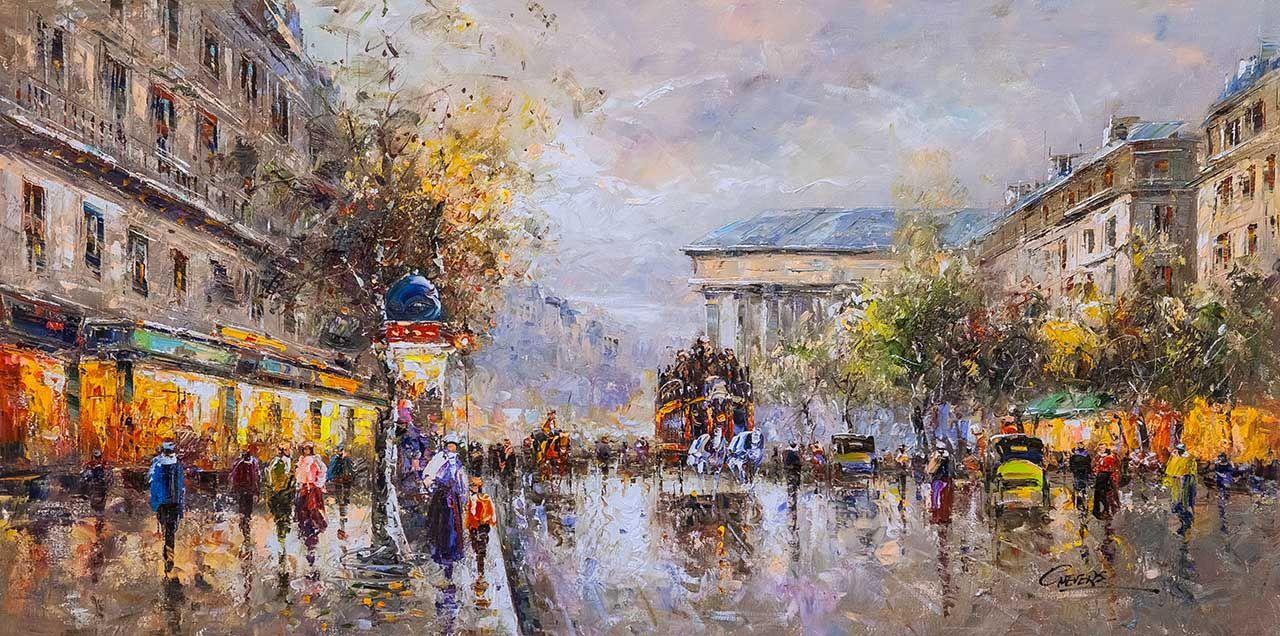 """(no name). Landscape of Paris by Antoine Blanchard """"Boulevard de La Madeleine"""" (Boulevard de la Madeleine)"""