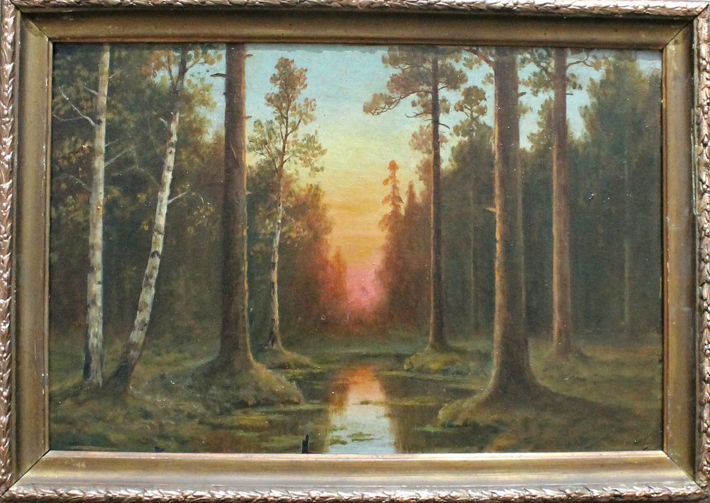 Unknown artist. Sunset in the forest