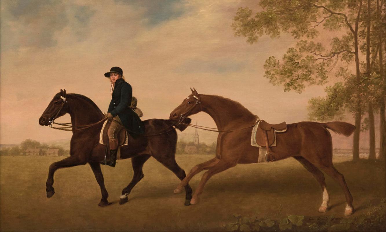 Джордж Стаббс. Две верховые лошади с жокеем в синей ливрее на фоне пейзажа