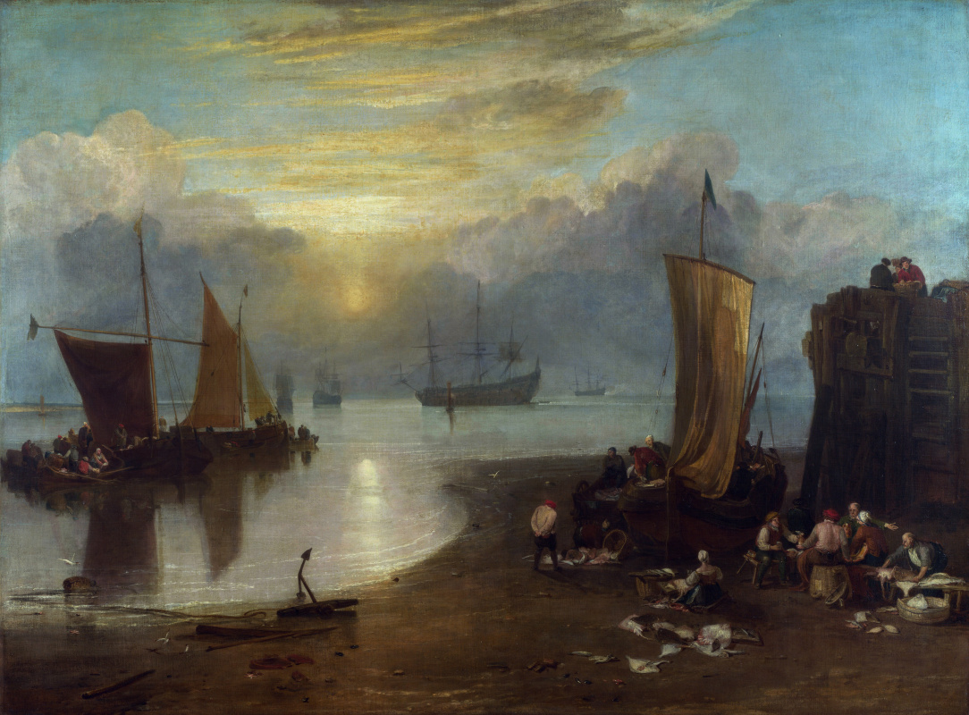 Joseph Mallord William Turner. Sunrise through the fog. Fishermen clean and sell the fish