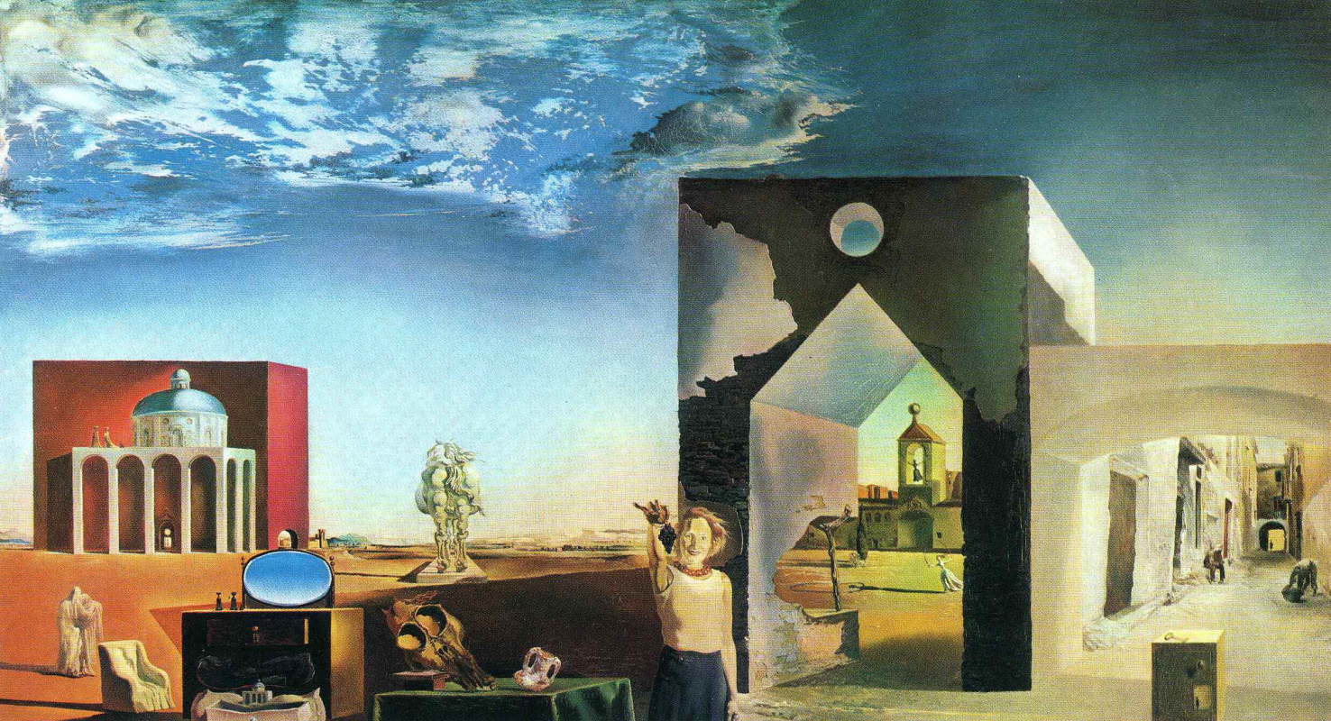 Salvador Dali. The suburbs paranoid critical town, afternoon on the outskirts of European history