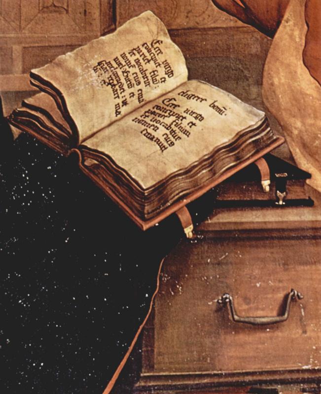 Маттиас Грюневальд. Изенхаймский алтарь. Благовещение Марии. Фрагмент