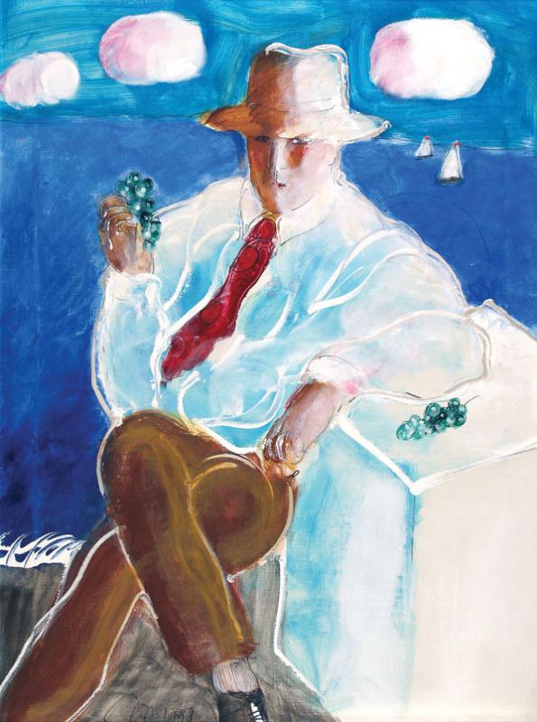Рустам Усманович Хамдамов. Портрет мужчины с виноградом