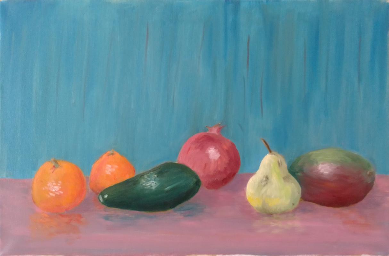 Dmitry Pozdnyakov. Fruit on a background of a blue wall