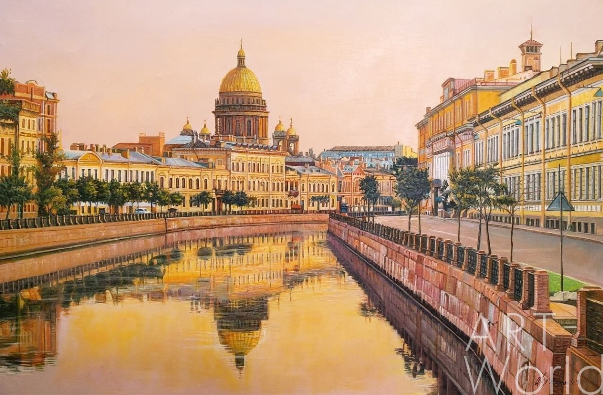 Alexander Romm. View of St. Isaac's Cathedral from the embankment. Sunset