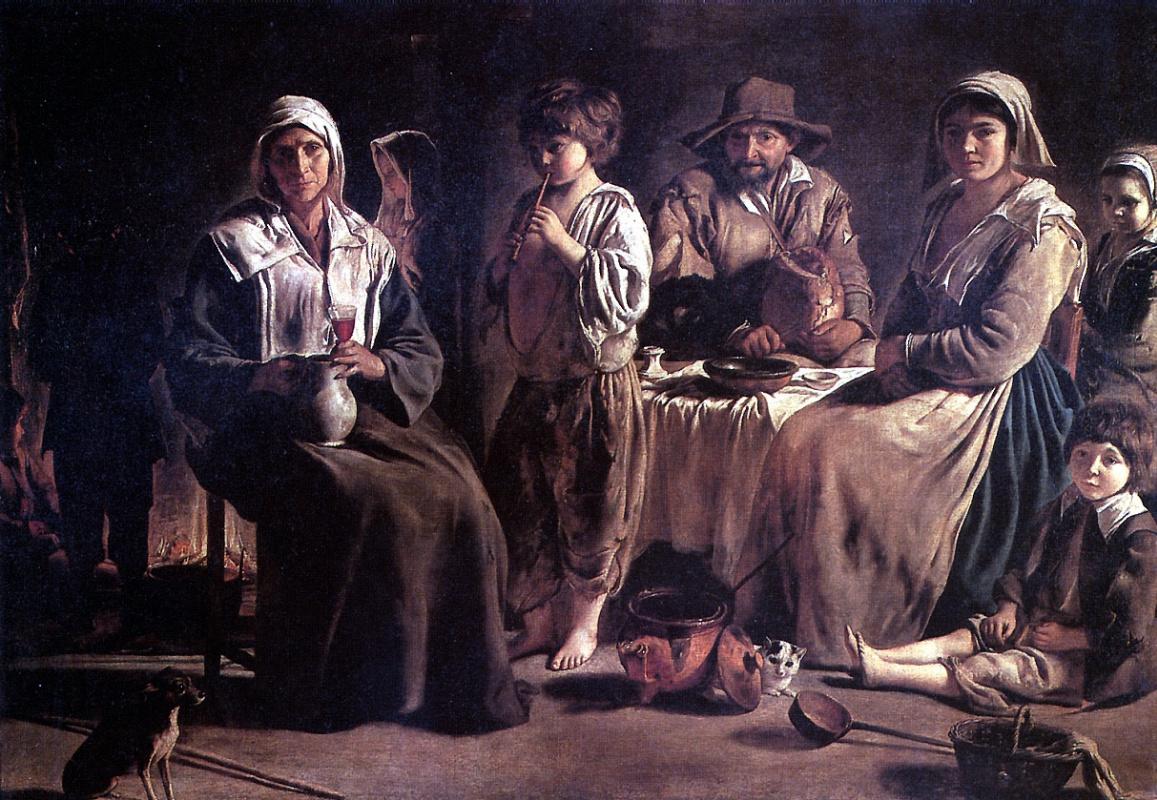 Louis Lenen. Peasant family in interior
