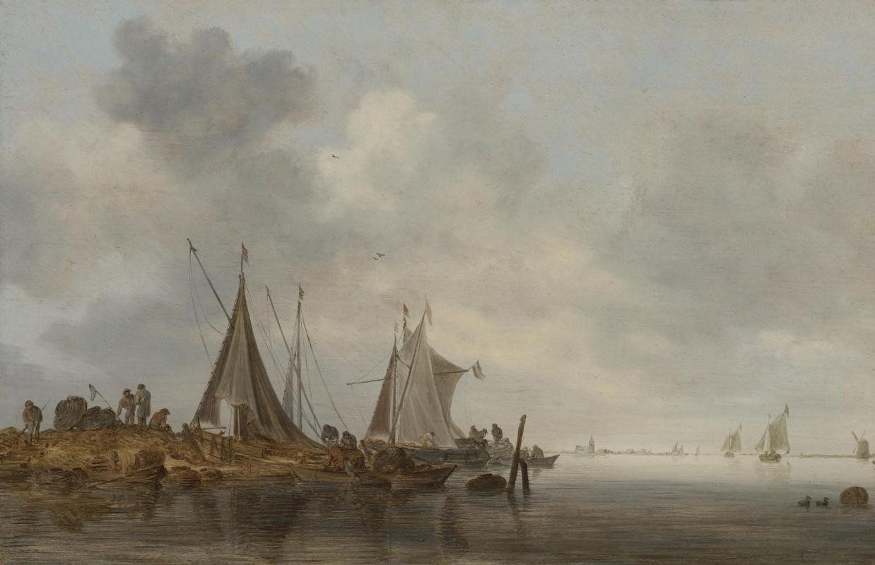 Jan van Goyen. Fishing boats in the shallows
