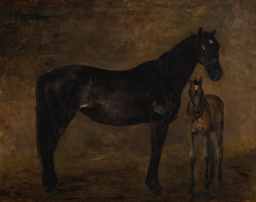 Иван Павлович Похитонов. Horse with foal