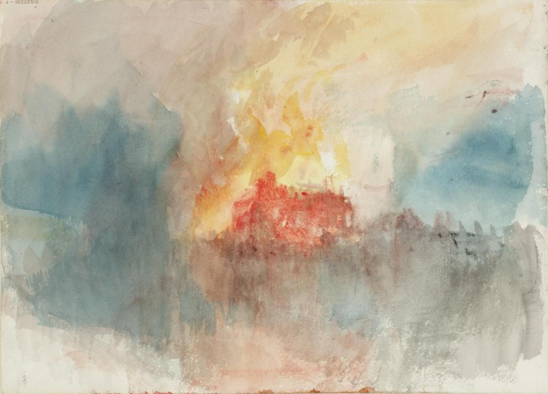 Джозеф Мэллорд Уильям Тёрнер. Пожар на Большом складе лондонского Тауэра в 1841 году