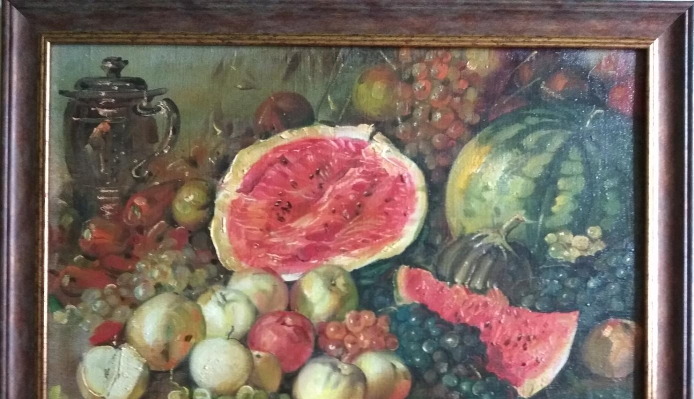 "Alexander Grigorievich Serdyukov. ""Still life with watermelon"""