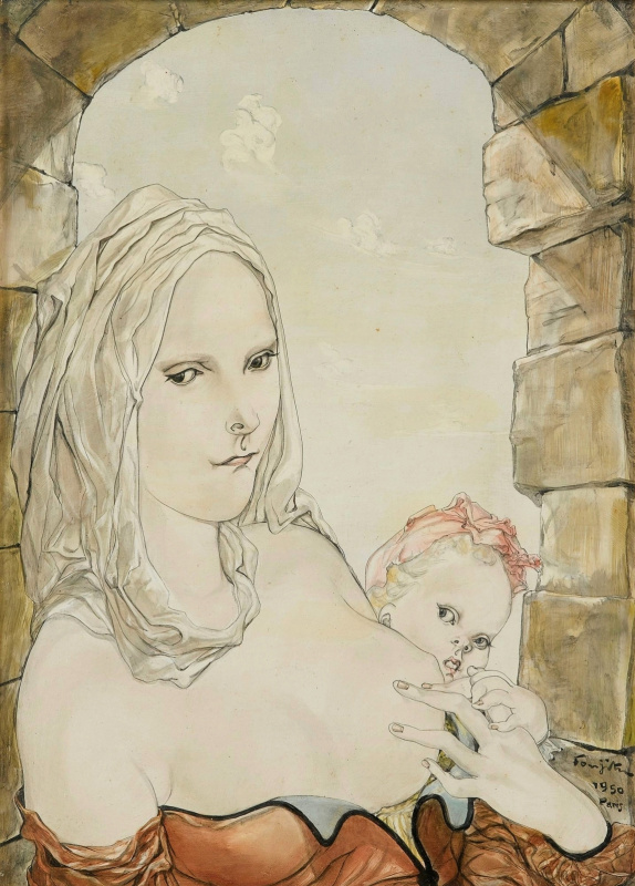Tsuguharu Foujita (Léonard Fujita). Mother and child