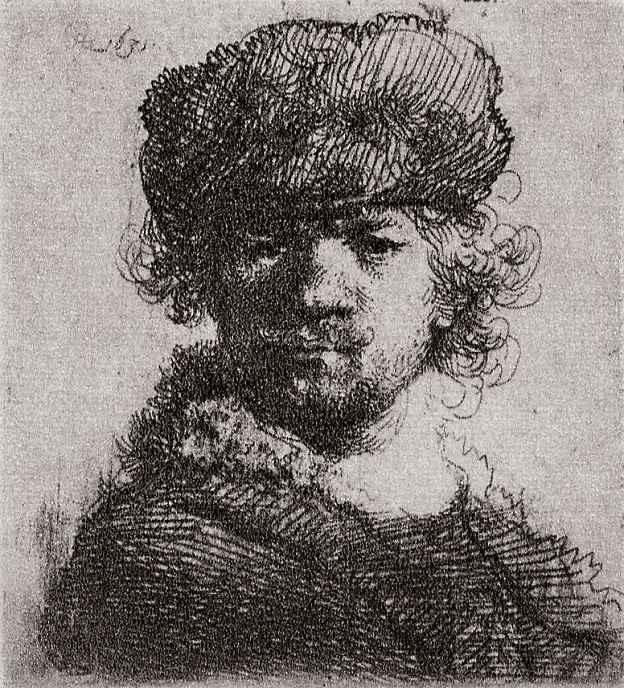 Рембрандт Харменс ван Рейн. Автопортрет в круглой шапке