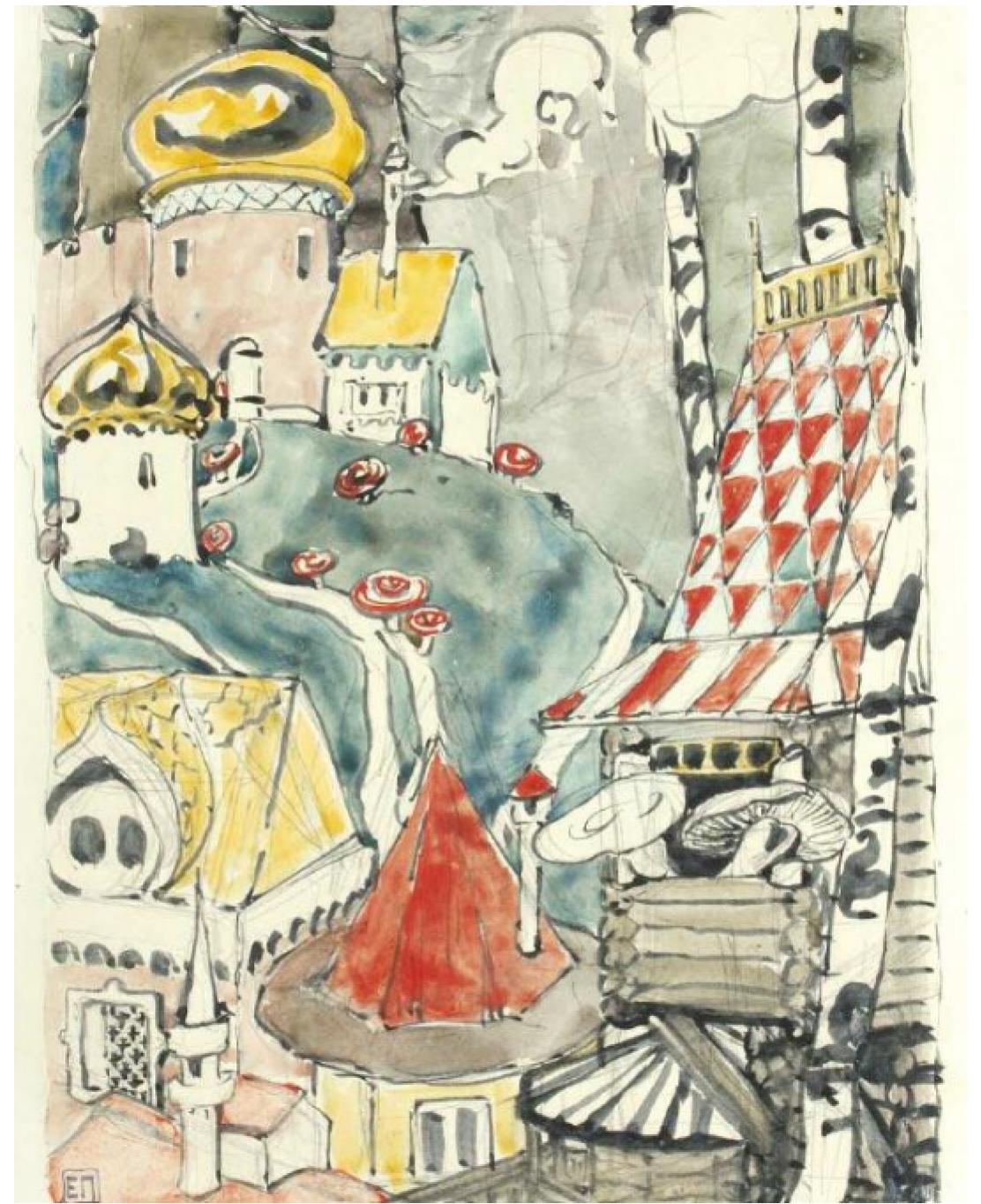 """Елена Дмитриевна Поленова. Посад волнушек. Иллюстрация к сказке """"Война грибов"""""""