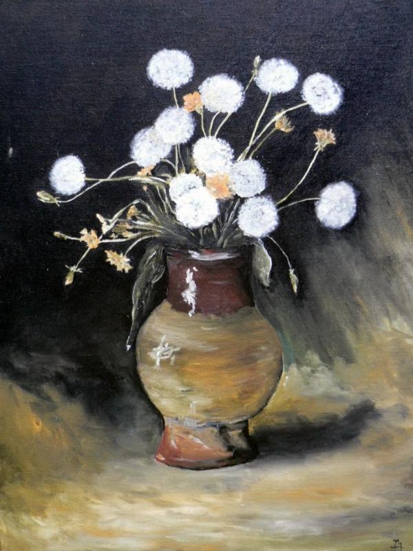 Сергей Николаевич Ходоренко-Затонский. Dandelions in a clay vase