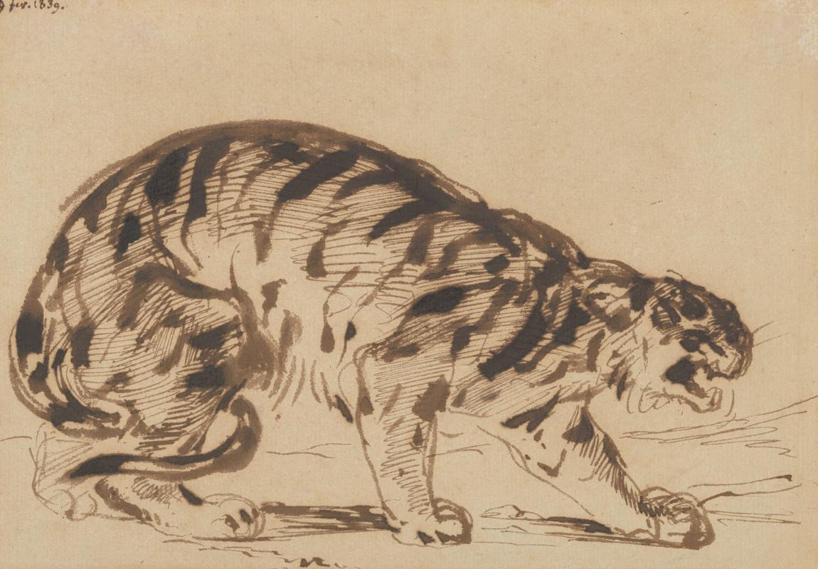 Eugene Delacroix. Crouching tiger