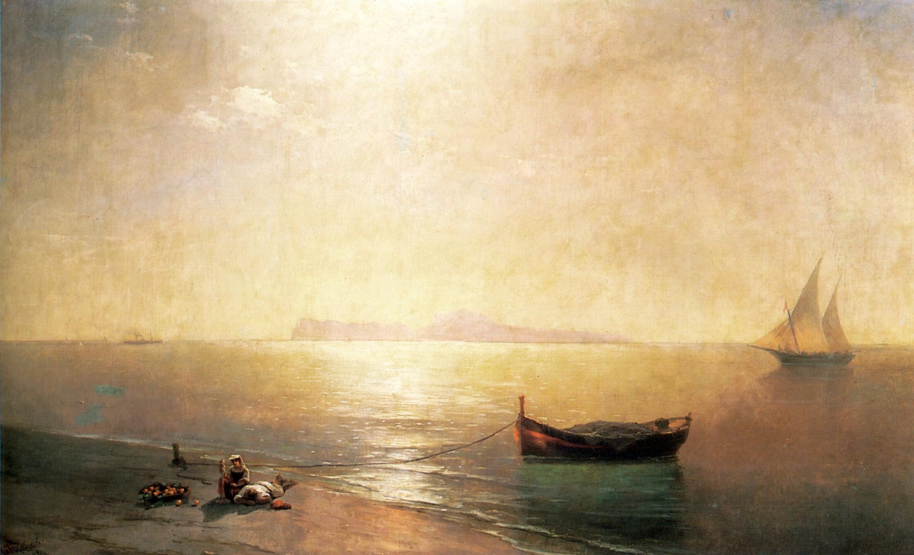 Иван Константинович Айвазовский. Штиль. Вид Капри (Средиземное море)