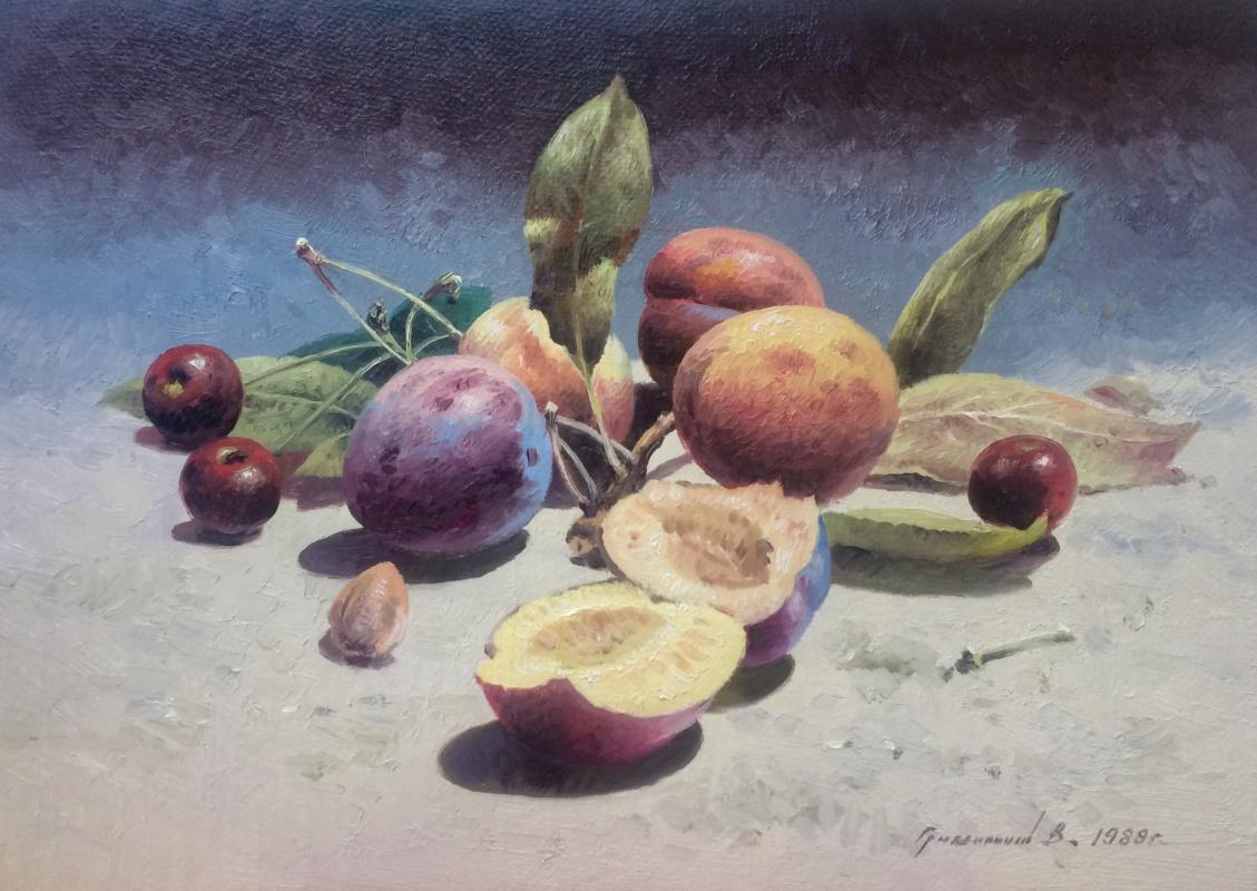 Vasily Ivanovich Gribennikov. Still Life with Plums and Cherries