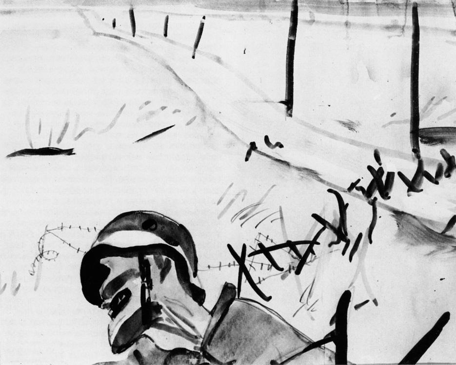 Александр Александрович Дейнека. Мертвый солдат на фоне разбитых заграждений