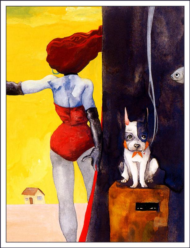 Шино Арихара. Рыжеволосая девушка и собака