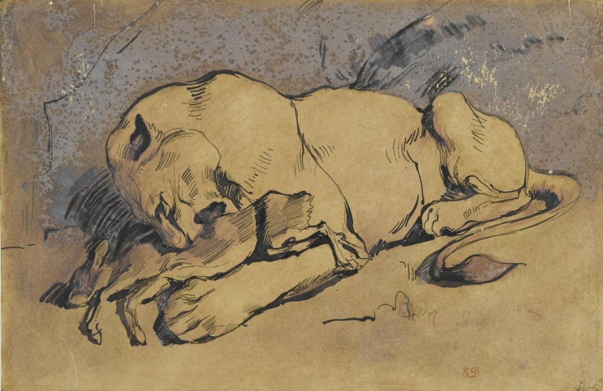 Eugene Delacroix. Lion eating rabbit