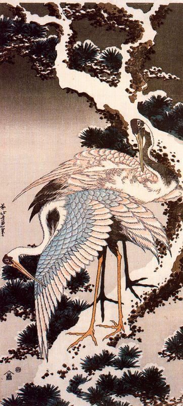 Кацусика Хокусай. Журавли на ветке сосны