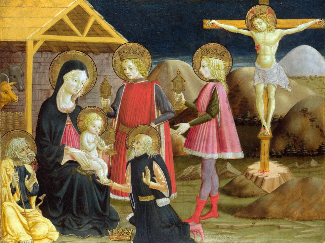 Бенедетто Бонфильи. Поклонение волхвов, и Христос на кресте