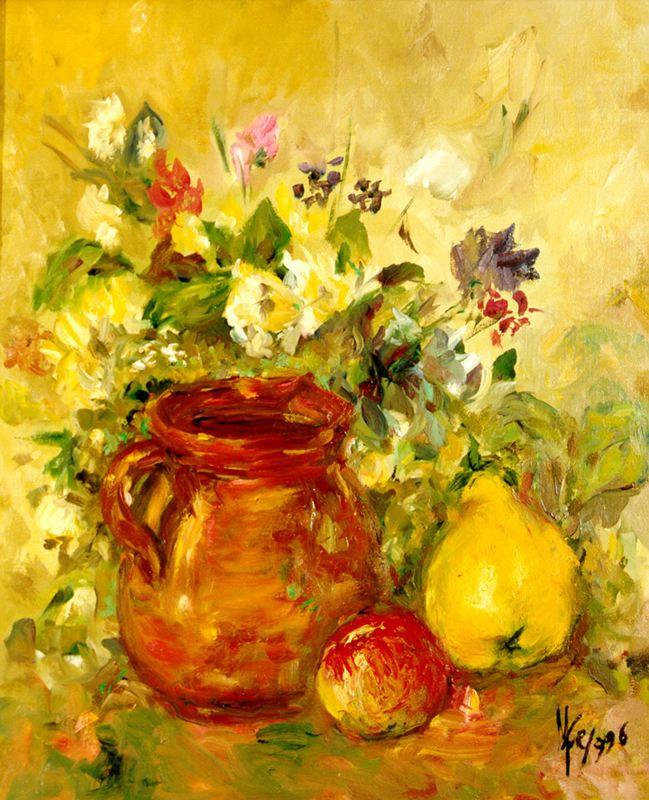 Мари Ромеро Кампо. Букет цветов, кувшин и фрукты