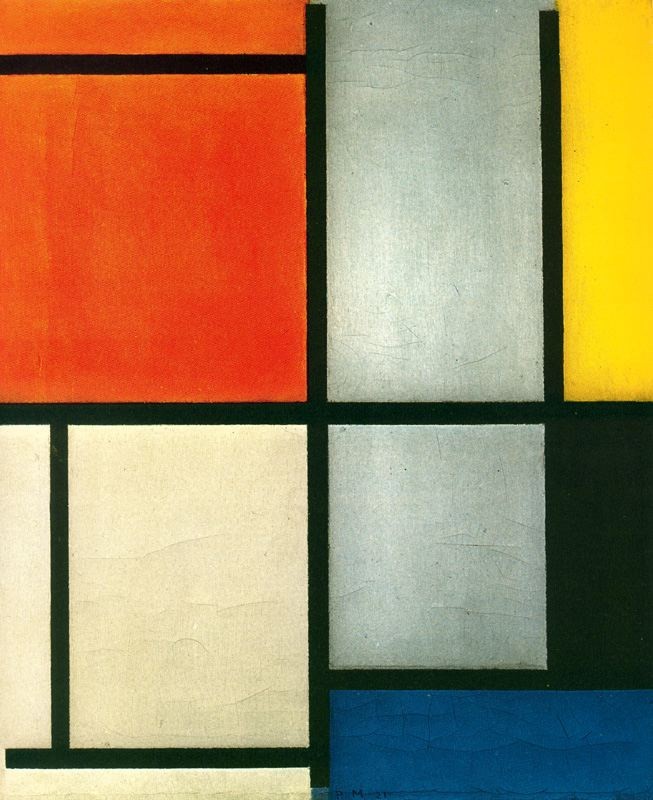 Piet Mondrian. Composition No. 3 with orange-red, yellow, black and grey