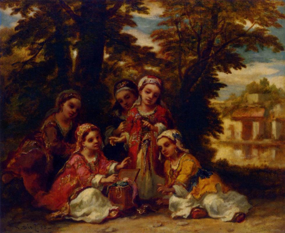 Нарсис Виржилио Диас де ла Пёнья. Дети рассматривают украшения