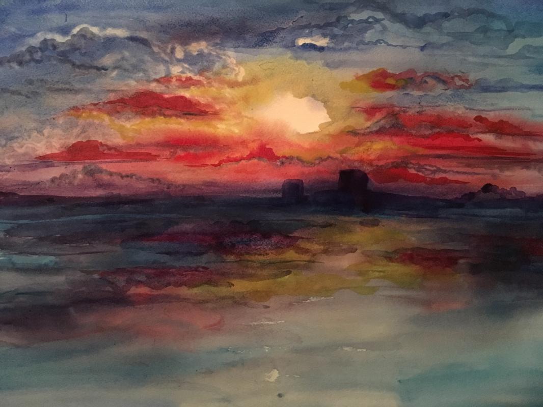 Elena Kokhno. Lonely sunset