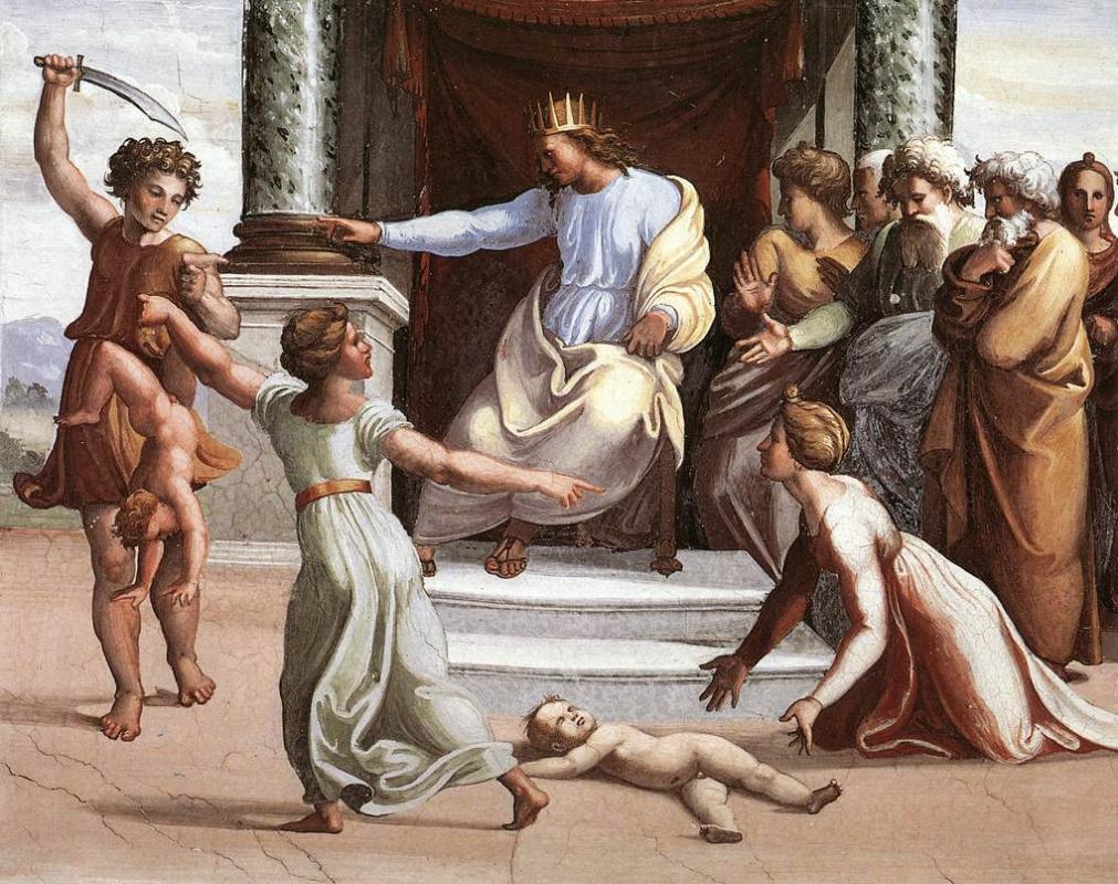 Рафаэль Санти. Суд Соломона. Фреска лоджии Рафаэля дворца понтифика в Ватикане