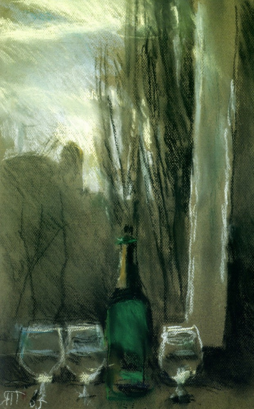 Tetyana Yablonska. Still life with green bottle