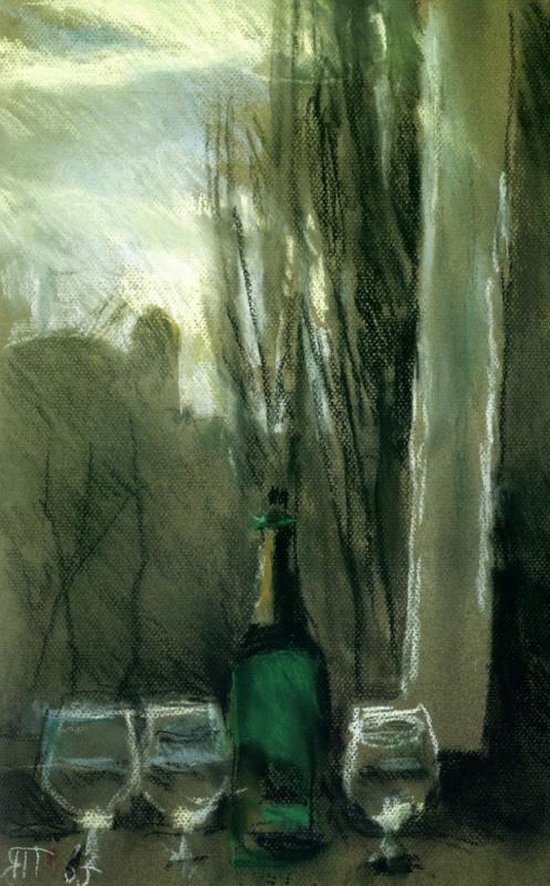 Tetyana Yablonska. Still life with green bottle
