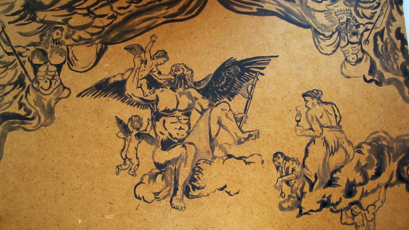 "Дмитрий Юрьевич Буянов. A draft of a future allegorical masterpiece, ""Family of thunder"" Artist Dmitry Buyanov"
