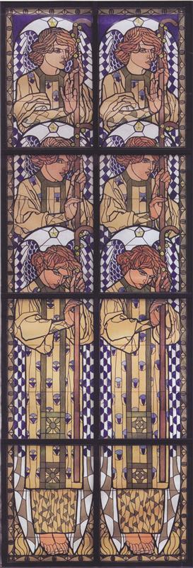Коломан Мозер. Церковь АМ-Штайнхоф, Рисунок ангела на левой стороне окна