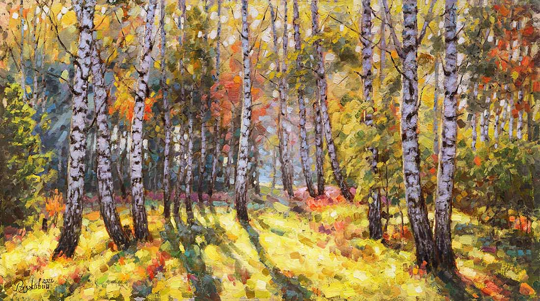 Igor Razzhivin. There are birch trees in thoughtful beauty