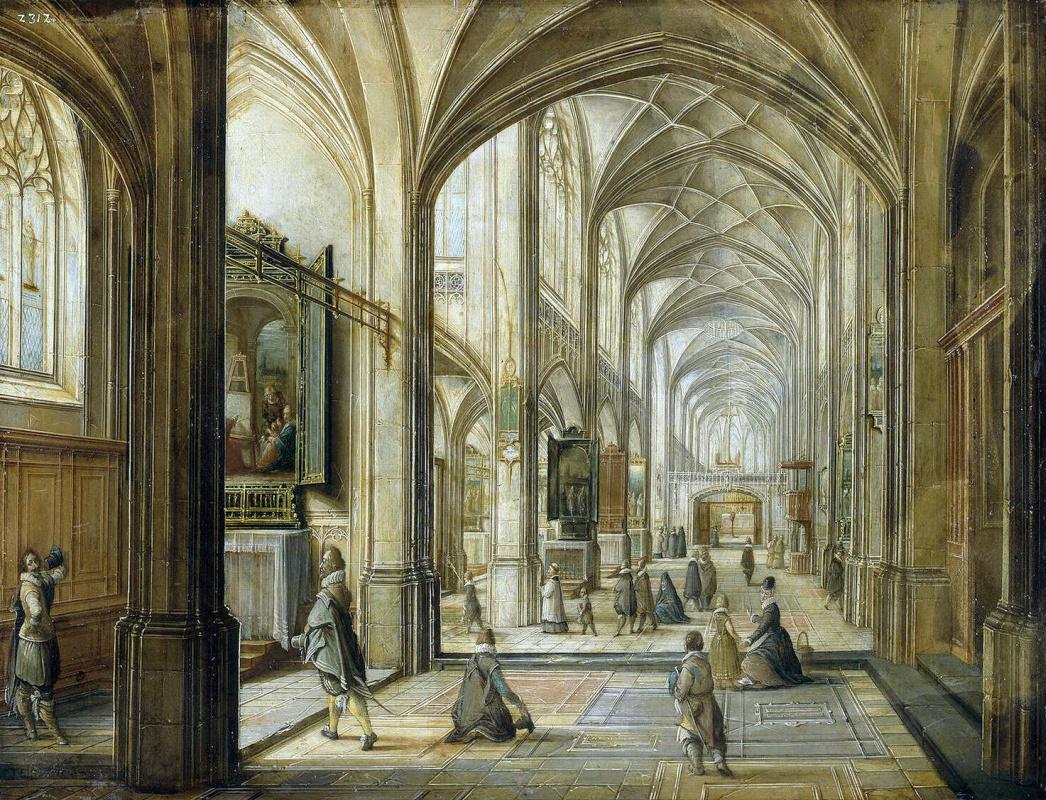 Хендрик ван Стенвейк Младший. Внутренний вид готической церкви