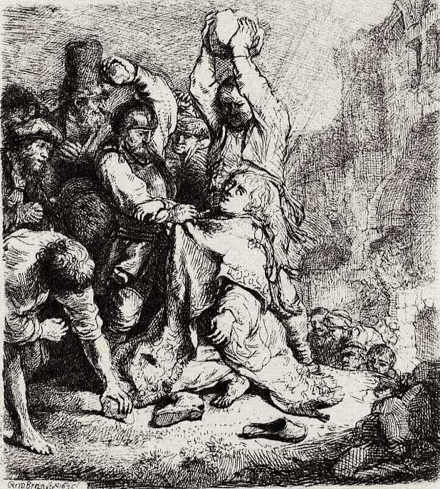 Рембрандт Харменс ван Рейн. Побиение камнями святого Стефана