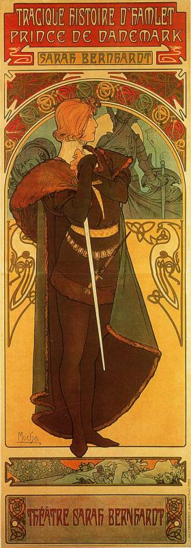 Альфонс Муха. Плакат Гамлет, Принц Датский