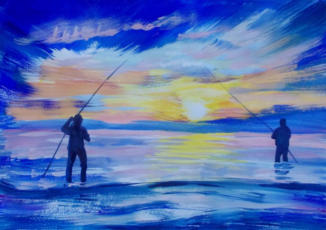 """""""Вечерняя рыбалка"""",бум.,гуашь"""