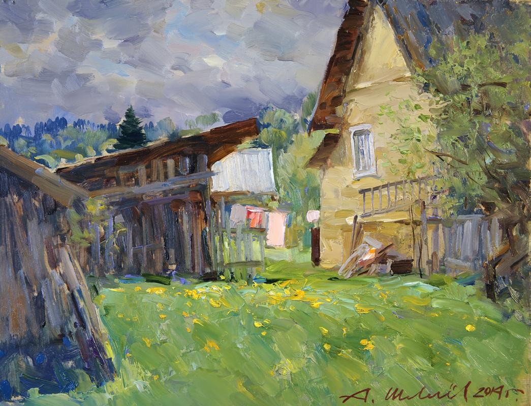 Alexander Victorovich Shevelyov. May in Sherehovichakh.DDP, oil 30 x 45 cm 2014
